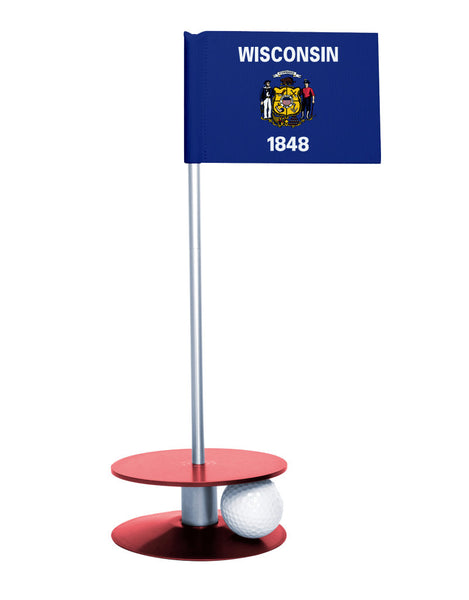 Wisconsin State Flag Putt-A-Round putting aid with red base. Great way to improve your golf short golf game skills. Makes a unique gift or giveaway!
