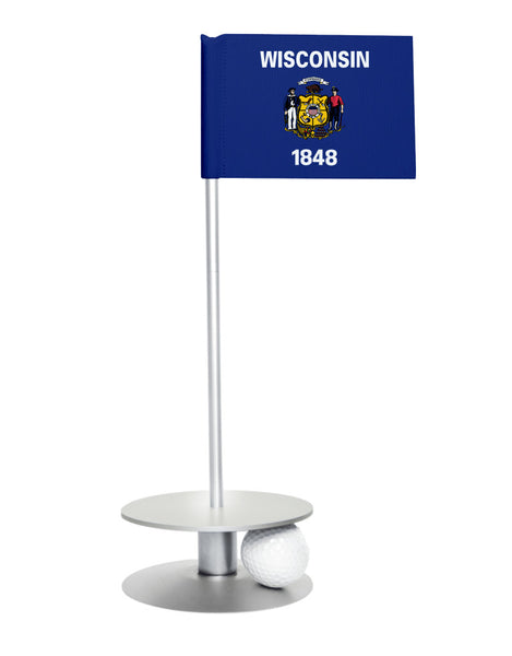 Wisconsin State Flag Putt-A-Round putting aid with silver base. Great way to improve your golf short golf game skills. Makes a unique gift or giveaway!
