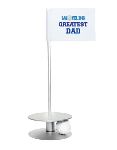 Putt-A-Round Putting Aid Worlds Great Dad with Silver Base - Give the greatest dad the gift of a better short game