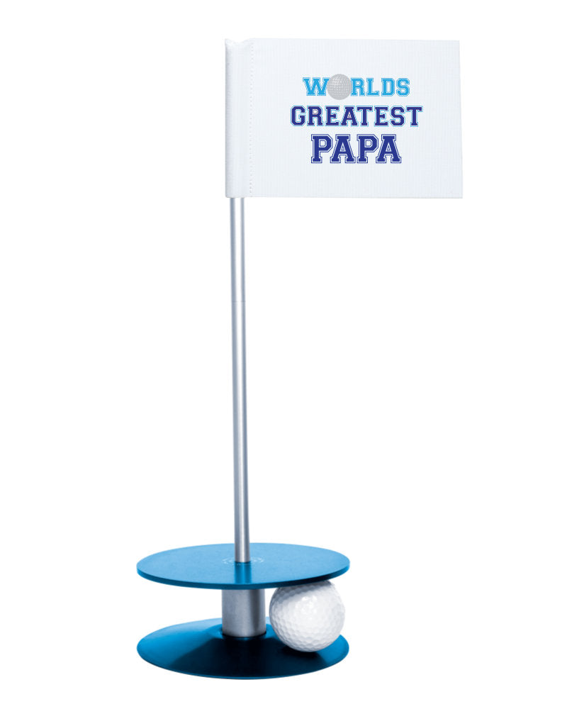 Putt-A-Round Putting Aid Worlds Greatest Papa with Blue Base - an awesome golf gift to help your papa's short game