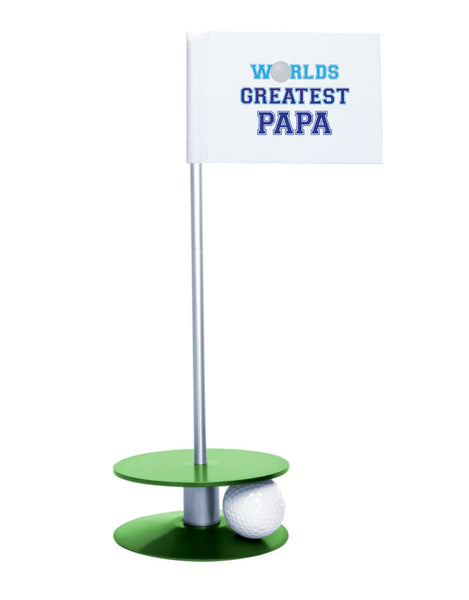 Putt-A-Round Putting Aid Worlds Greatest Papa with Green Base - an awesome golf gift to help your papa's short game