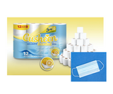 60 Lemon Cusheen Toilet Roll + 1 Disposable Face Mask