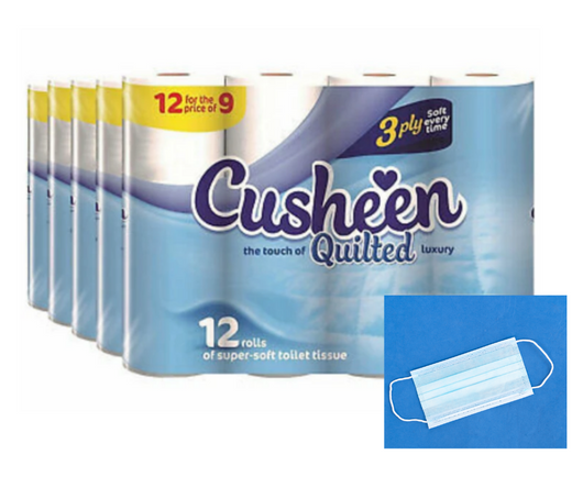 60 White Cusheen Toilet Roll + 1 Disposable Face Mask