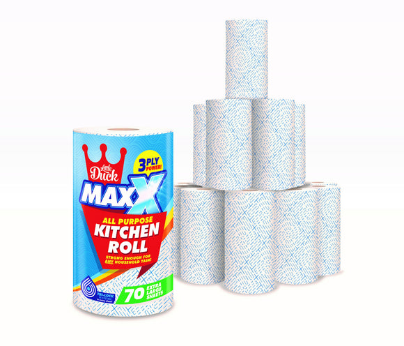 12 Maxx Kitchen Roll - Extra-Large Rolls of MAXX 3PLY Super Absorbent Kitchen Towels