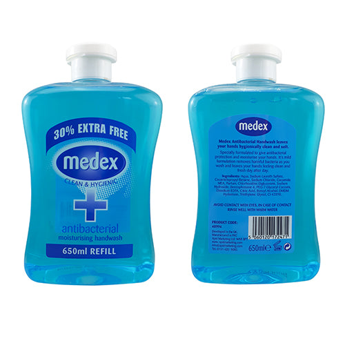 MEDEX ANTIBACTERIAL HANDWASH - ORIGINAL 650MLS (4 X BOTTLES) - OVER 2.5 LTRS OF ANTI BAC HAND WASH