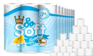 90 COCONUT SCENTED SO SOFT 3PLY QUILTED TOILET ROLLS + 1 FREE FACE SHIELD