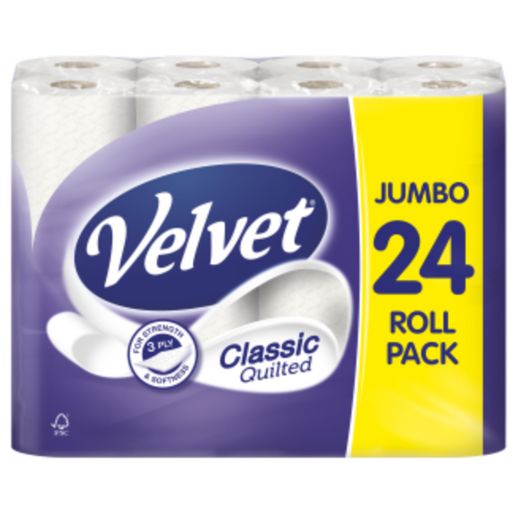 24 VELVET TOILET ROLLS Plus a Face Mask