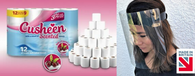 120 Cherry Cusheen Toilet Roll + 1 Free Face Shield