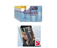 120 White Cusheen Toilet Roll + 1 Free Face Shield
