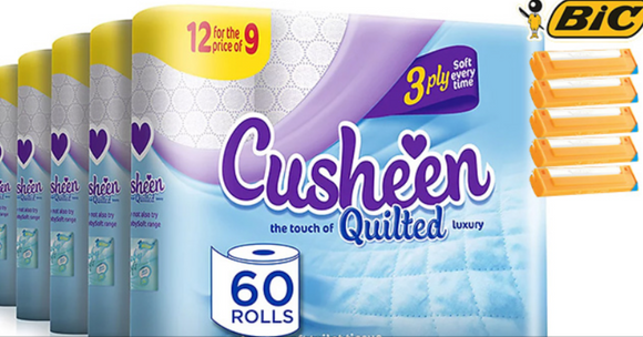 60 White Cusheen Toilet Roll Plus Pack of 5 Bic 2 Disposable Razors