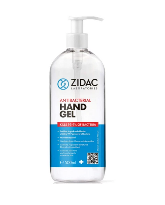 12 x 500ml Zidac Anti Bacterial Hand Gel HOSPITAL GRADE