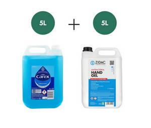 5L Carex Hand Wash + 5 Litre Zidac Hand Gel HOSPITAL GRADE