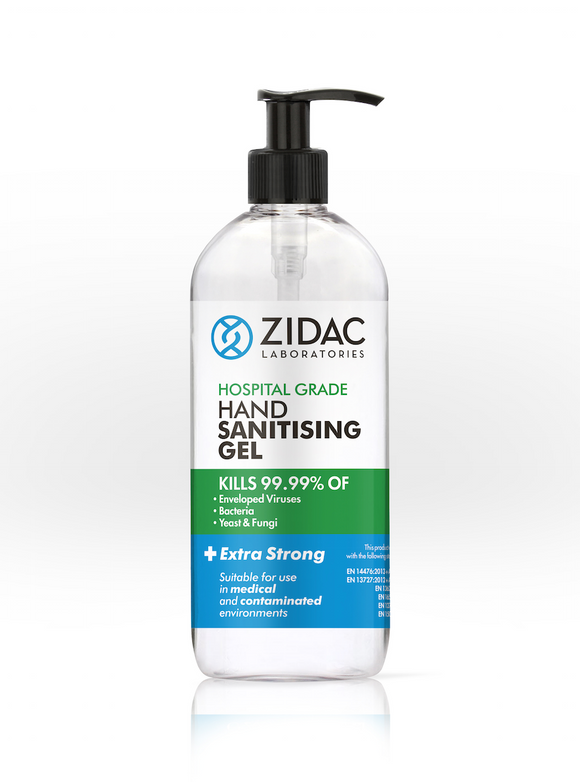 12 x 500ml NEW Zidac Hospital Grade Hand Gel -