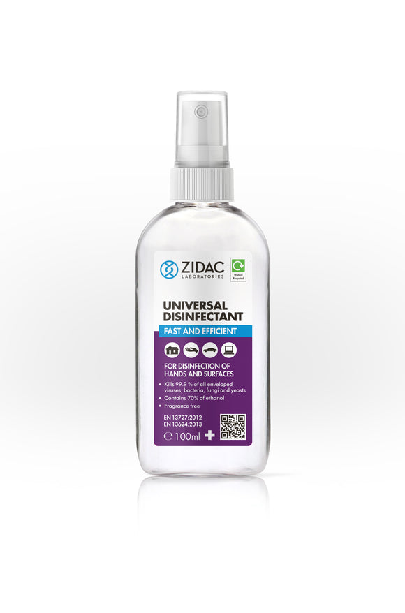12 x 100ml Zidac Universal Surface Disinfectant Spray