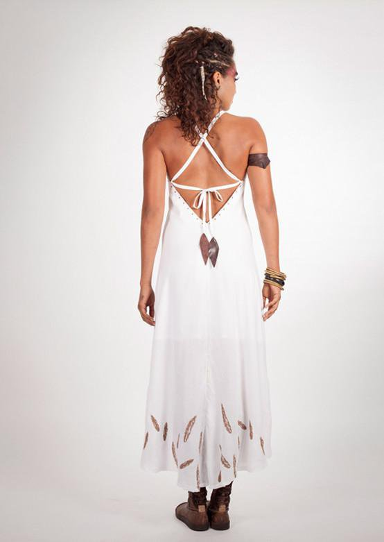 Load image into Gallery viewer, Feather Goddess Dress