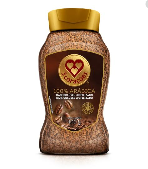 3 Coracoes Arabica - Freeze-dried soluble coffee 3.52oz - Cafe Soluvel Liofilizado 100g