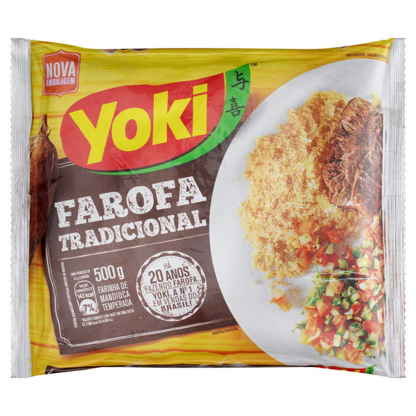 Yoki Seasoned Cassava Flour 17.6 oz - Farofa Pronta Temperada 500g