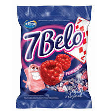 Arcor 7 Belo Chew Candy Raspberry Flavored 5.29 oz - Bala Mastigavel sabor Framboesa 150g