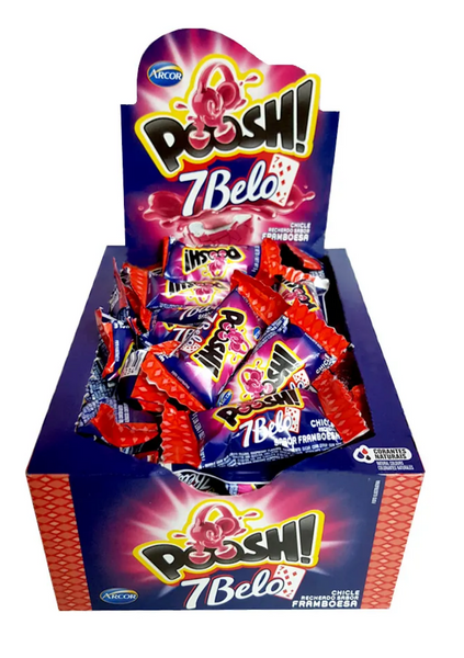 Arcor Poosh 7 Belo Chew Candy Raspberry Flavored 7oz - Bala Mastigavel sabor Framboesa 200g