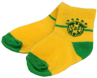 Baby Socks CBF Green and Yellow -Meias CBF Bebê