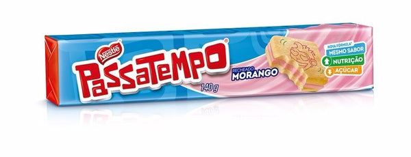 Nestle Passatempo Strawberry Cream Sandwich Biscuit 4.93oz - Biscoito recheado sabor morango140g