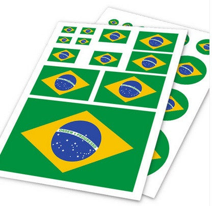 Sheet of 11 Brazil flags sticker - Cartela de adesivos bandeira do brasil