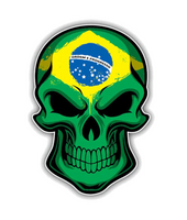 Brazil Flag Skull Car Motorcycle Sticker Decal PVC - Brasil Bandeira Caveira Etiqueta Decalque PVC Carro Moto