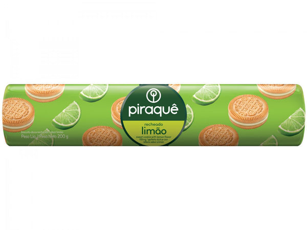 Piraque Lemon Sandwich Cookies 7.05oz - Biscoito Recheado Limao 200g