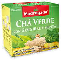 Madrugada Green Tea with Ginger and Mint 0.53oz 10 bags - Cha Verde com Gengibre e Menta 15g