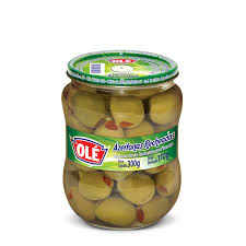 Ole Pitted Green Olives 5.2 oz- Azeitonas Verde Recheada 300g