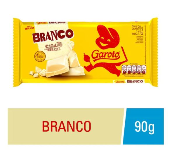 Garoto White Chocolate Bar 3.17oz - Barra de Chocolate Branco 90g