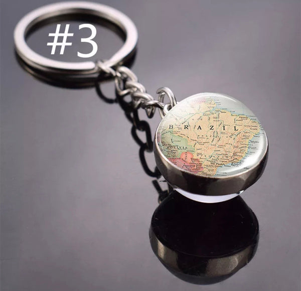 Brazil Map Ball Shaped Keychain - Chaveiro Bola Mapa do Brasil