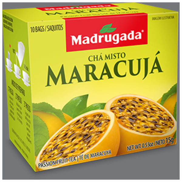 Madrugada Passion Fruit Tea 0.53oz 10 bags - Cha Misto de Maracuja 15g