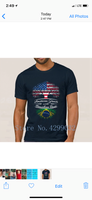 Brazil & USA American Grown with Brazilian Roots T-Shirt (Brasil e Estados Unidos)