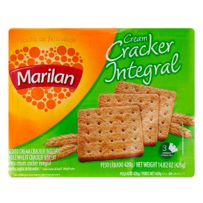 Marilan Whole Wheat Cracker Biscuit 420g - Biscoito Cream Craker Integral
