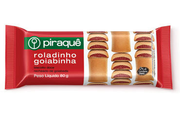 Piraque Sweet cookie filled with Guava 3.53oz - Roladinho de Goiaba 100g
