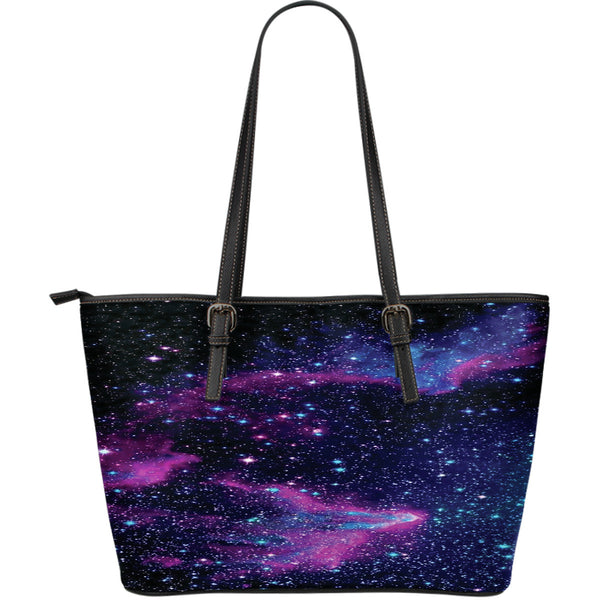 Purple Space-Large Leather Tote