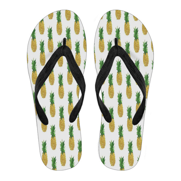 Pineapple-Women's Flip Flops Black