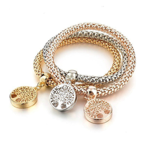 Hollow Tree of Life 3pcs Charm Women Bracelet Gold Silver Rose Gold