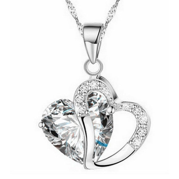 Necklace heart-shaped zircon crystal necklace chain clavicle sweater chain Women Heart Rhinestone Silver Pendant Jewelry