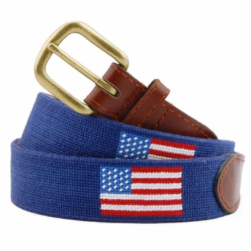 AMERICAN FLAG NEEDLEPOINT BELT - NAVY - The Navy Knot