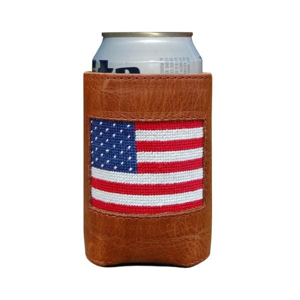 AMERICAN FLAG NEEDLEPOINT CAN COOLER - The Navy Knot