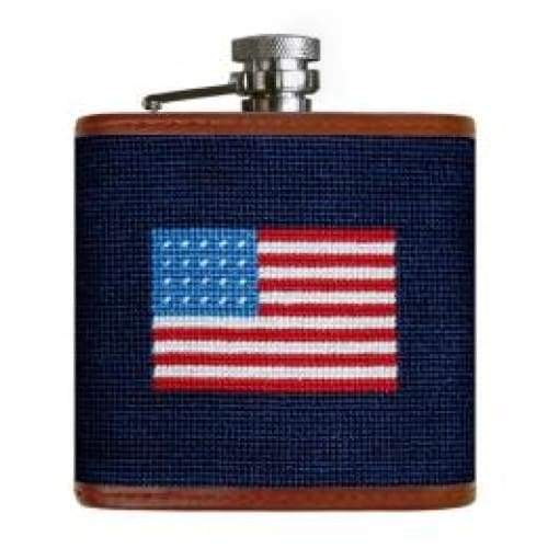 AMERICAN FLAG NEEDLEPOINT FLASK - The Navy Knot