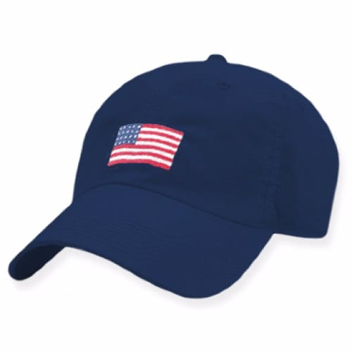 AMERICAN FLAG NEEDLEPOINT HAT - NAVY - The Navy Knot