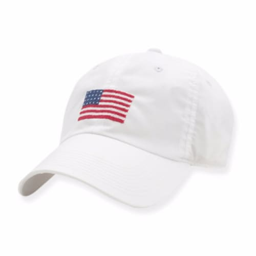 AMERICAN FLAG NEEDLEPOINT HAT - WHITE - The Navy Knot