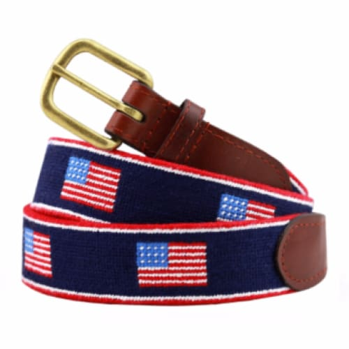 AMERICAN FLAG STRIPE NEEDLEPOINT BELT - The Navy Knot