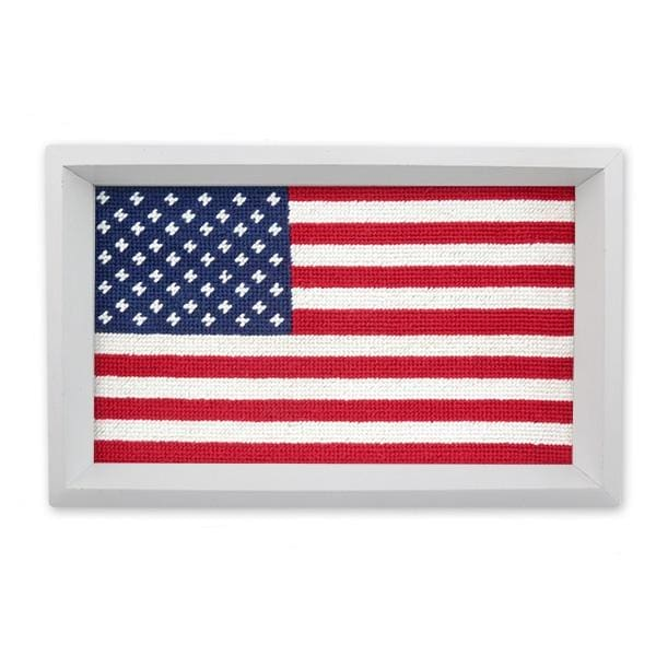 BIG AMERICAN FLAG NEEDLEPOINT VALET TRAY - Desktop