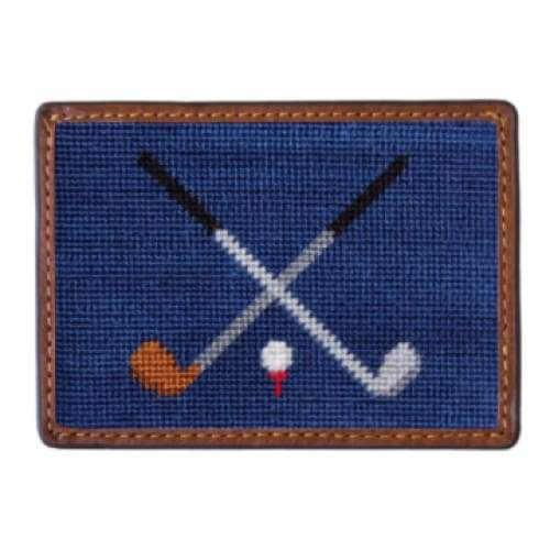 CROSSED CLUBS NEEDLEPOINT CARD WALLET - The Navy Knot