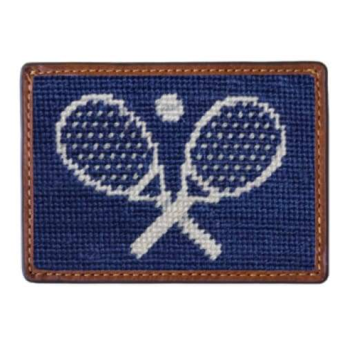 CROSSED RACQUETS NEEDLEPOINT CARD WALLET - The Navy Knot