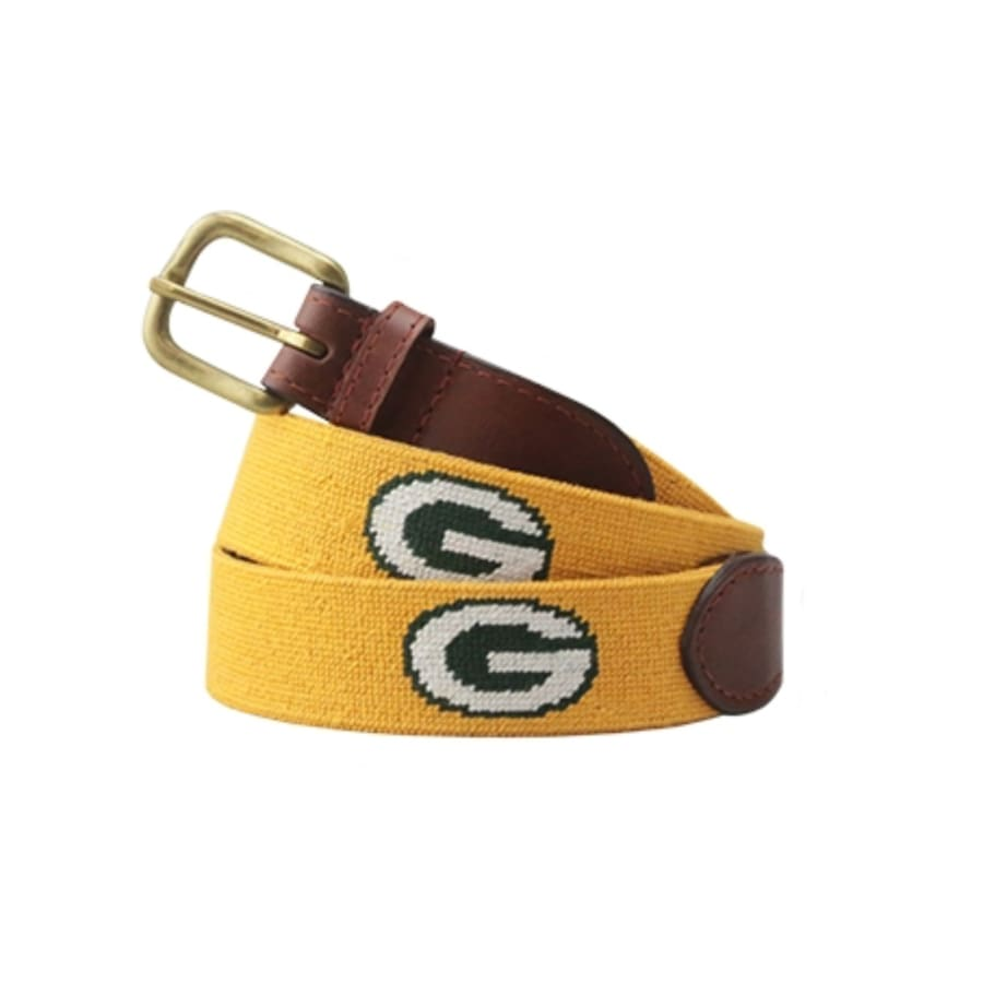 GREEN BAY PACKERS NEEDLEPOINT BELT - YELLOW - Mens Belt